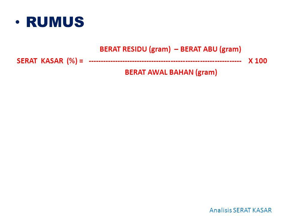 RUMUS BERAT RESIDU (gram) – BERAT ABU (gram)