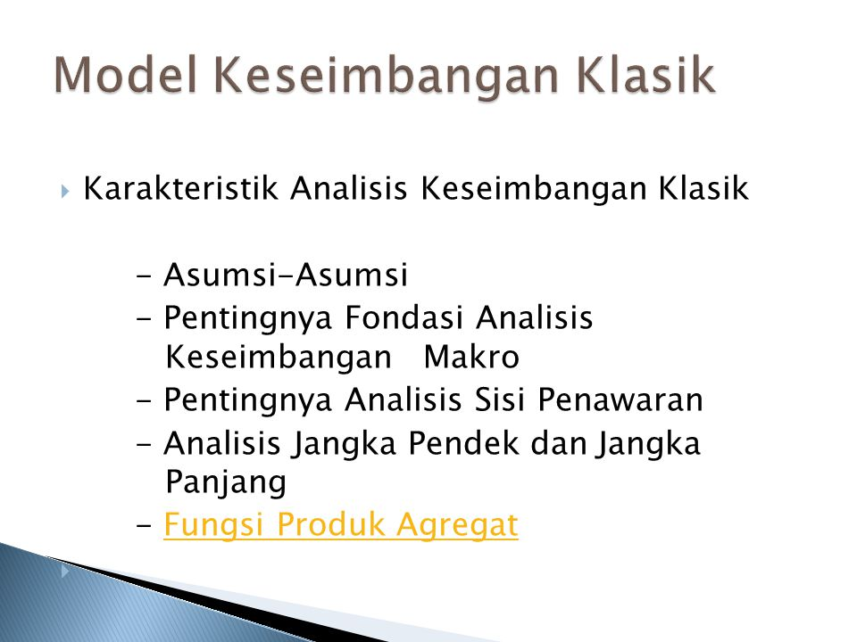 Model Keseimbangan Klasik