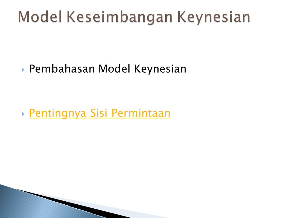 Model Keseimbangan Keynesian