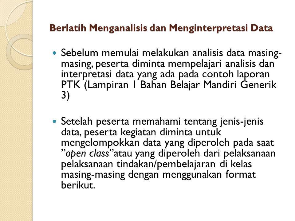 Berlatih Menganalisis dan Menginterpretasi Data