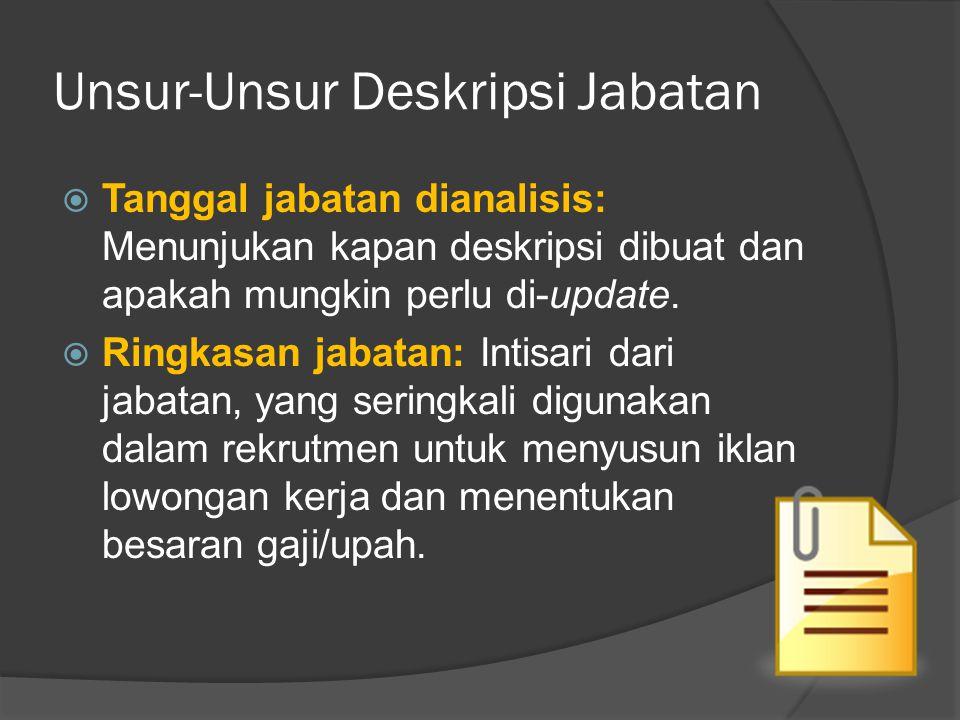 Unsur-Unsur Deskripsi Jabatan