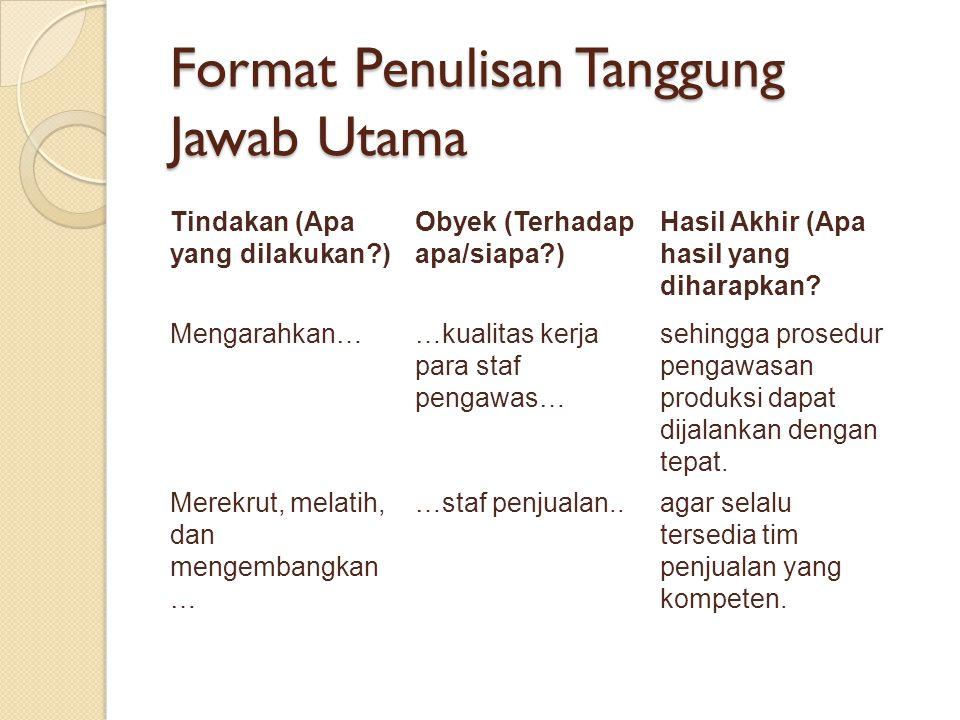 Format Penulisan Tanggung Jawab Utama