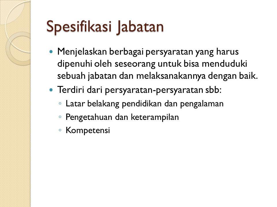 Spesifikasi Jabatan