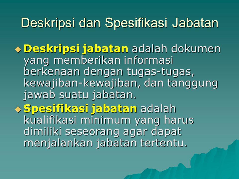 Deskripsi dan Spesifikasi Jabatan