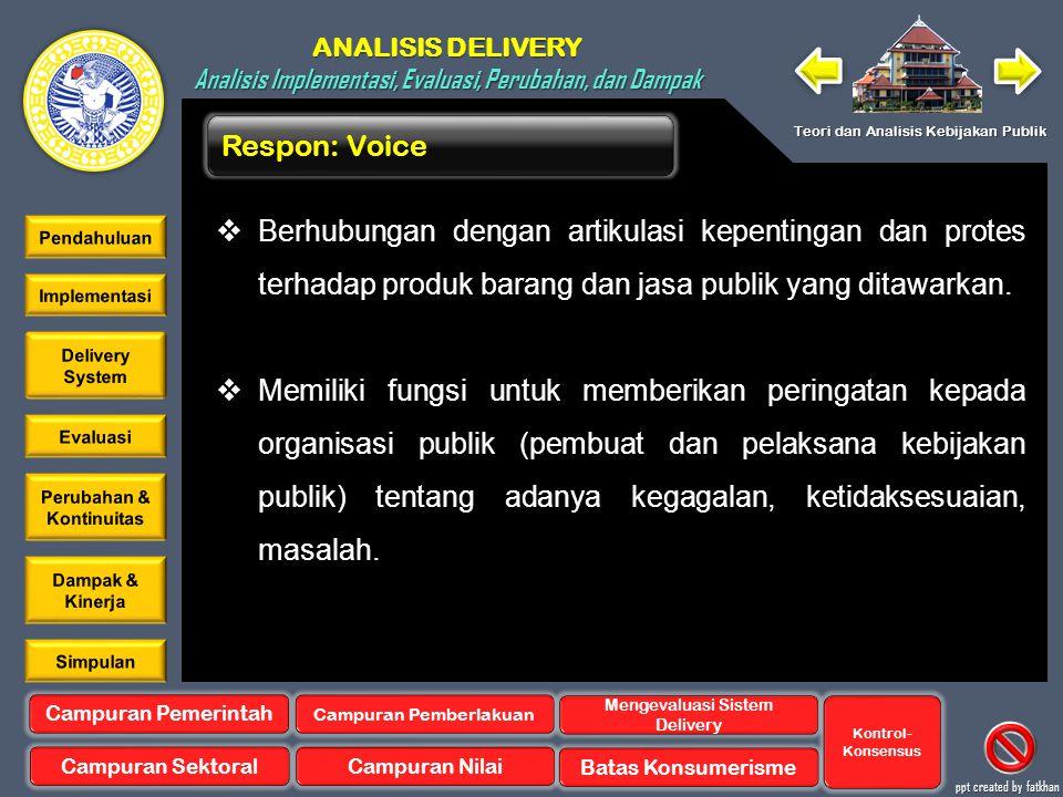 Respon: Voice Berhubungan dengan artikulasi kepentingan dan protes terhadap produk barang dan jasa publik yang ditawarkan.