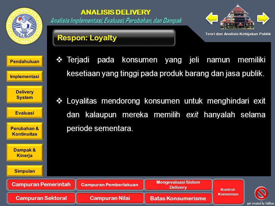 Respon: Loyalty Terjadi pada konsumen yang jeli namun memiliki kesetiaan yang tinggi pada produk barang dan jasa publik.