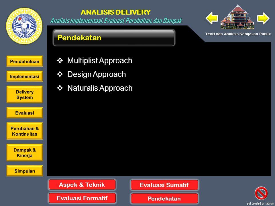 Pendekatan Multiplist Approach Design Approach Naturalis Approach