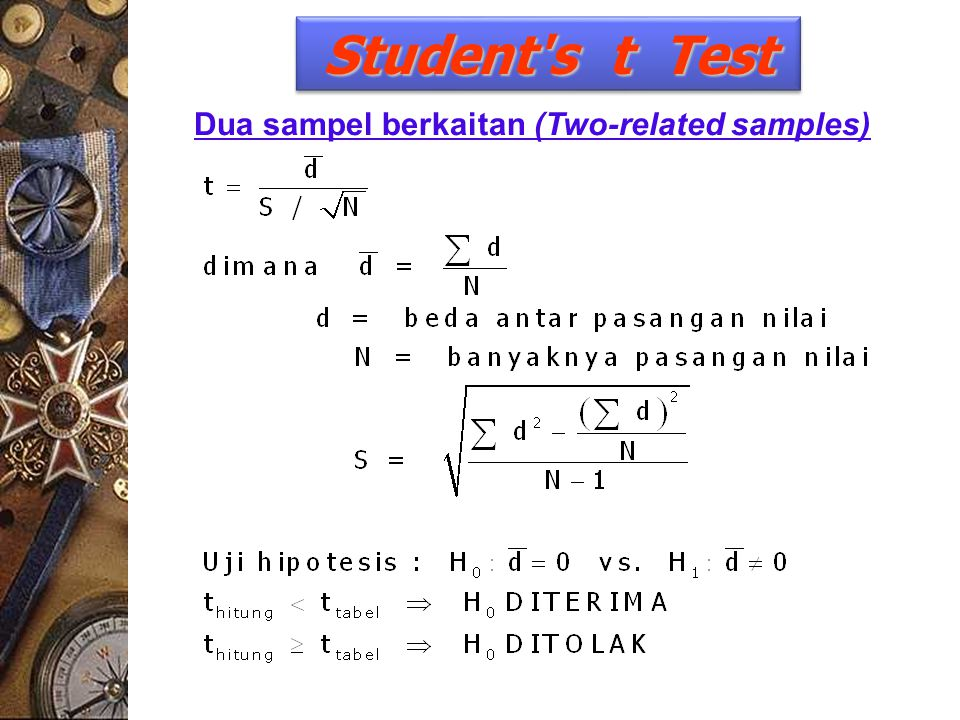 Student s t Test Dua sampel berkaitan (Two-related samples)