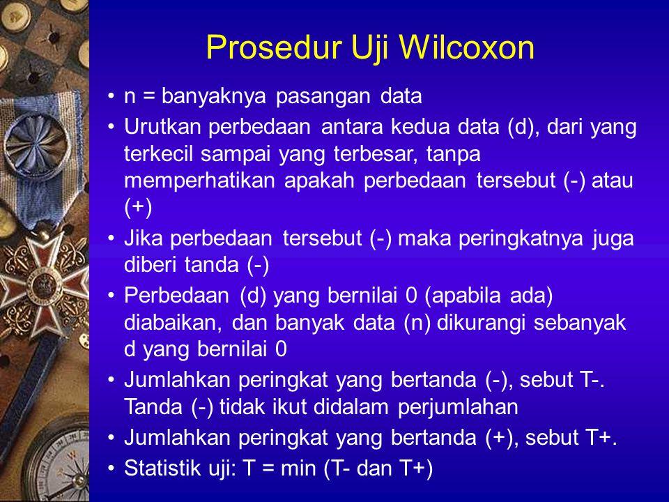 Prosedur Uji Wilcoxon n = banyaknya pasangan data