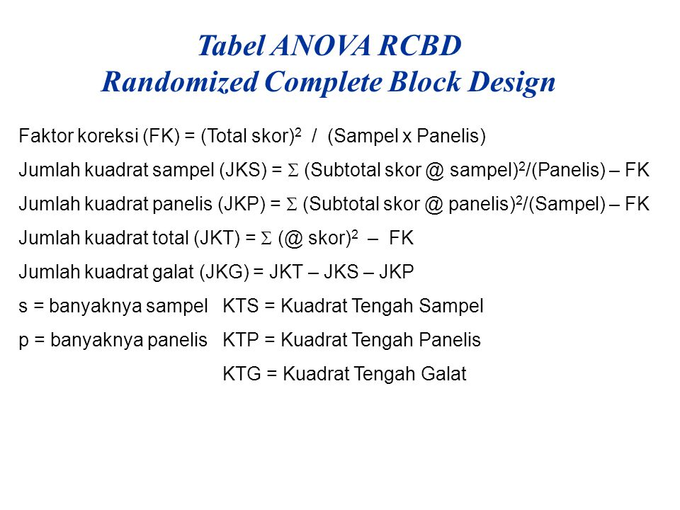 Tabel ANOVA RCBD Randomized Complete Block Design