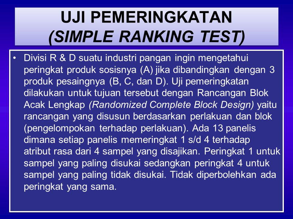 UJI PEMERINGKATAN (SIMPLE RANKING TEST)