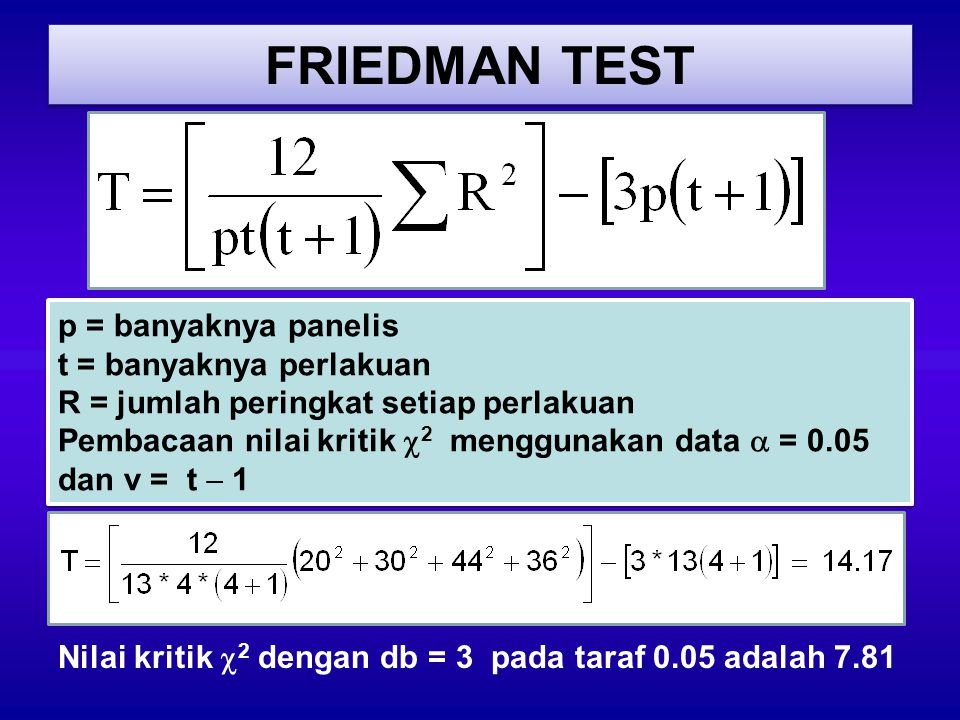 FRIEDMAN TEST p = banyaknya panelis t = banyaknya perlakuan