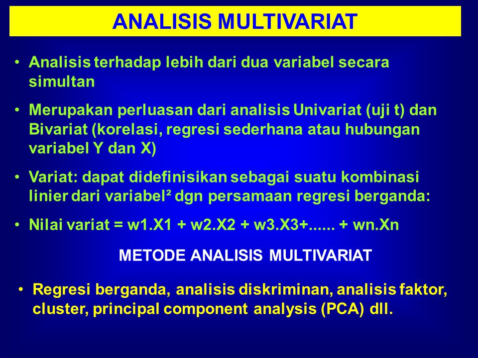 METODE ANALISIS MULTIVARIAT