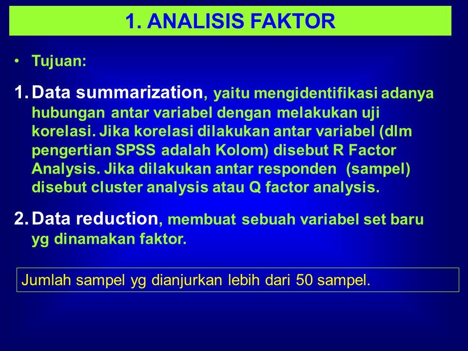 1. ANALISIS FAKTOR Tujuan: