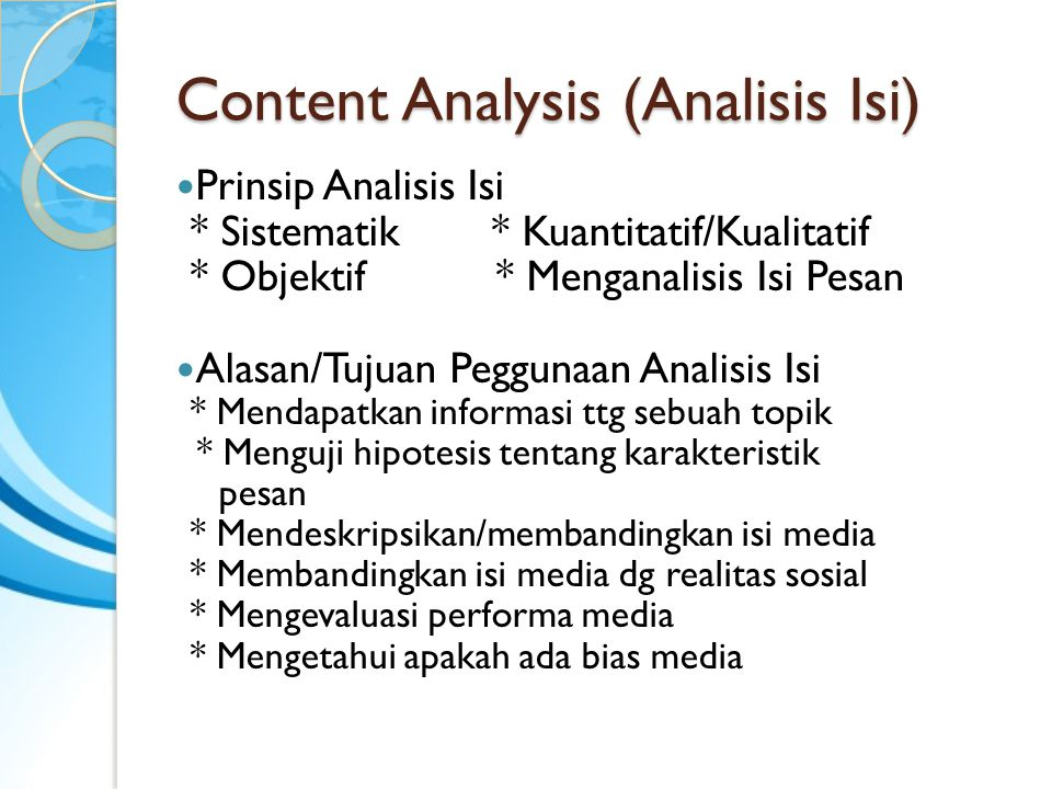Content Analysis (Analisis Isi)