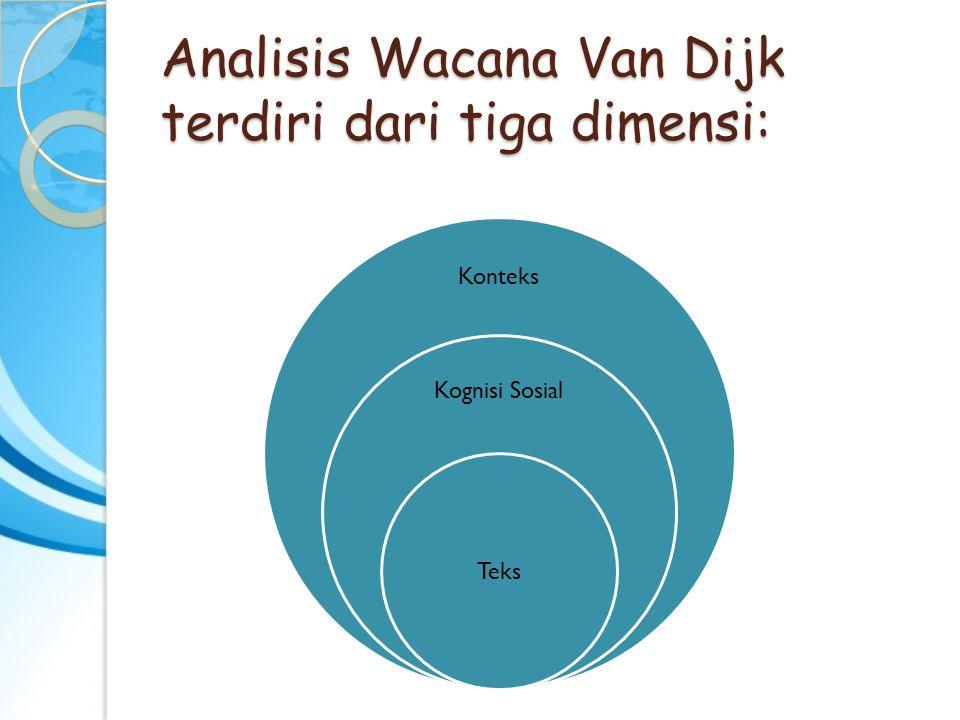Analisis Wacana Van Dijk terdiri dari tiga dimensi: