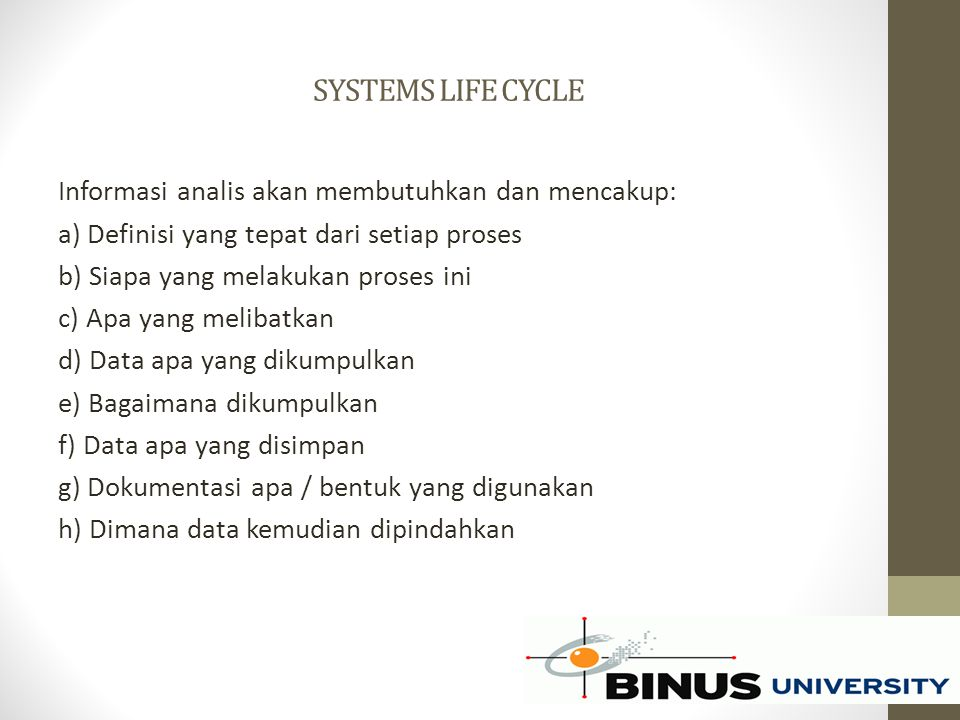 SYSTEMS LIFE CYCLE