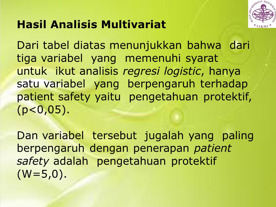 Hasil Analisis Multivariat