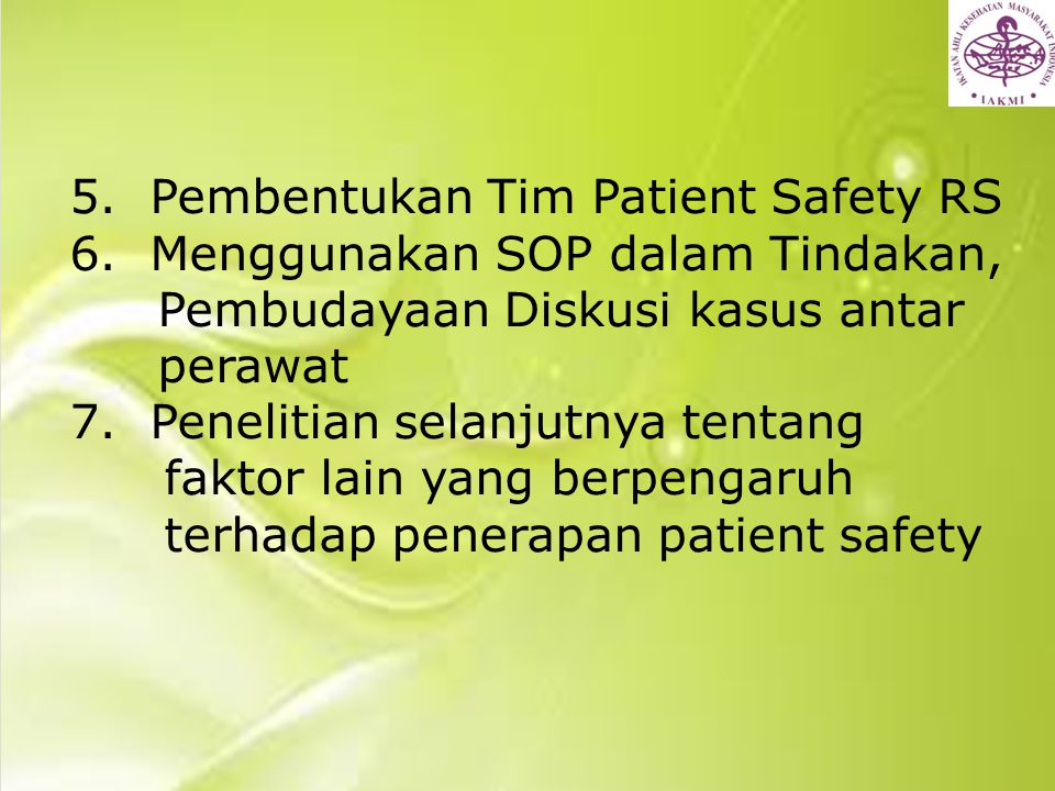 5. Pembentukan Tim Patient Safety RS