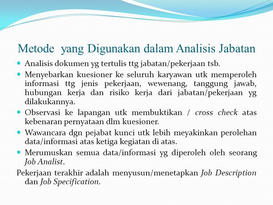 Metode yang Digunakan dalam Analisis Jabatan