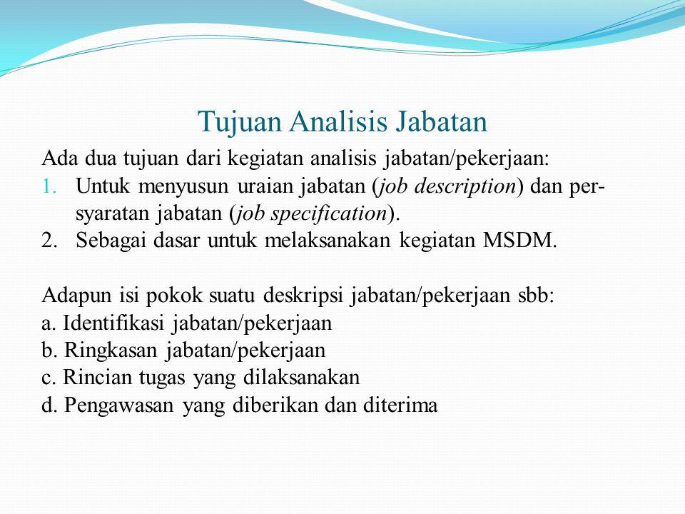 Tujuan Analisis Jabatan