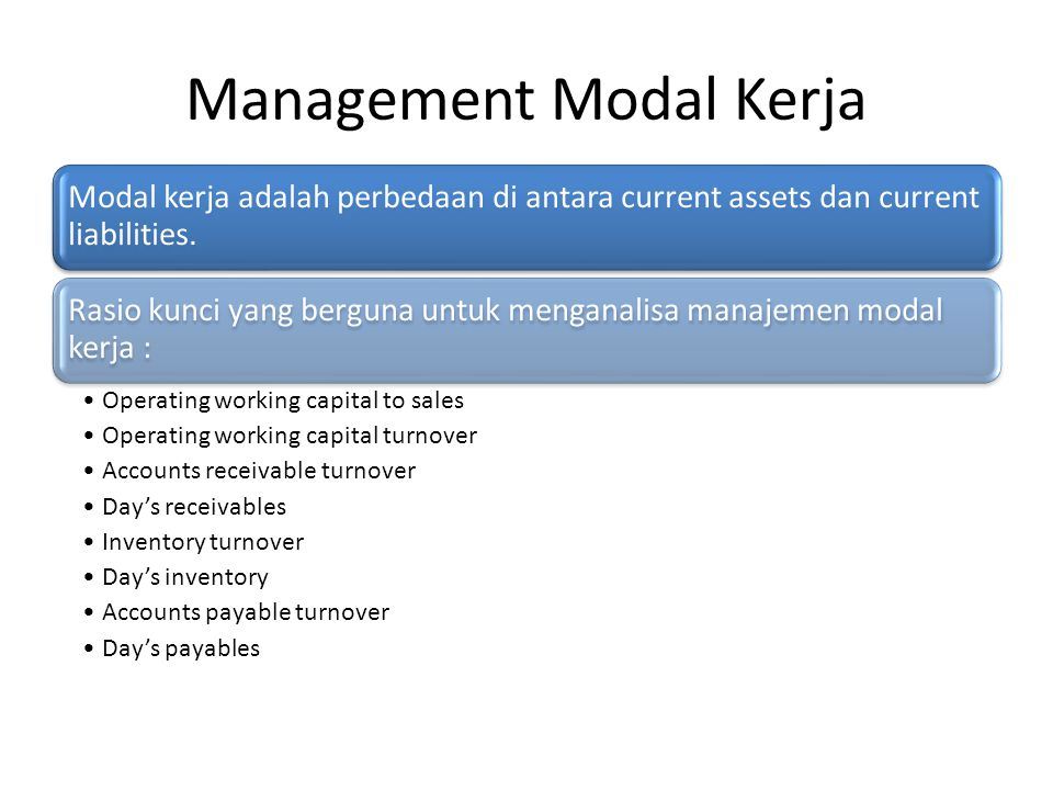 Management Modal Kerja