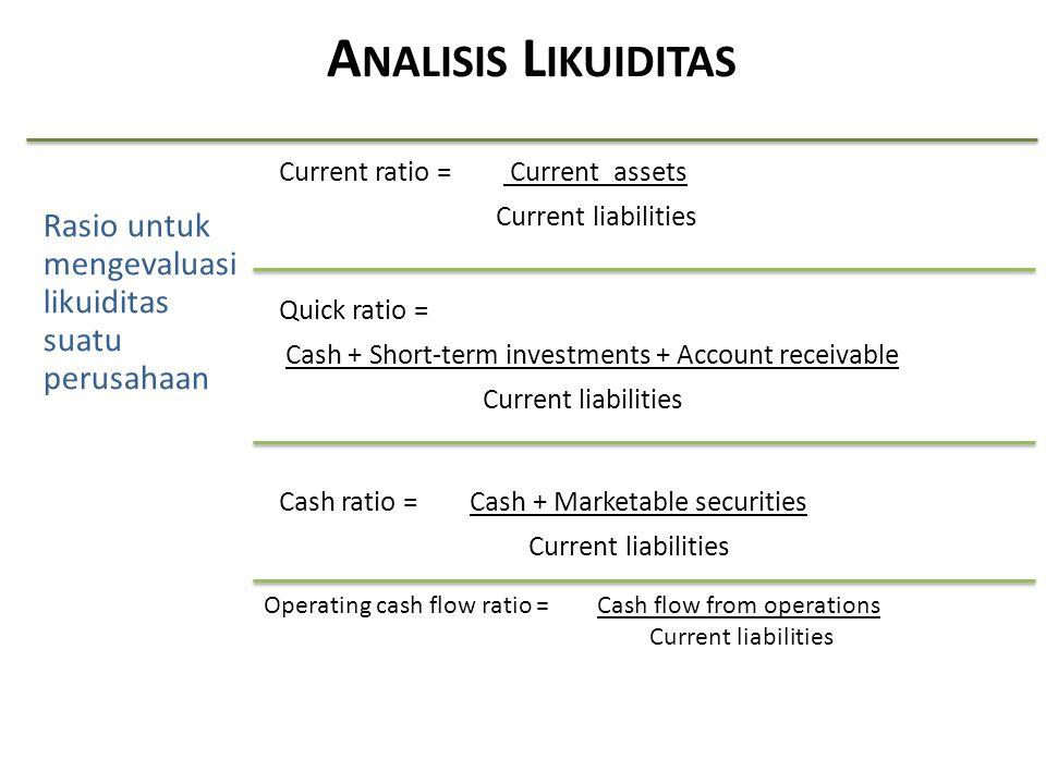 Analisis Likuiditas Rasio untuk mengevaluasi likuiditas suatu perusahaan. Current ratio = Current assets.