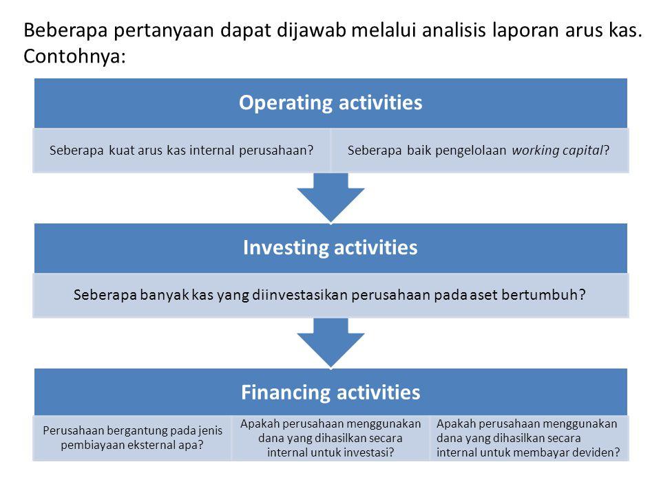 Beberapa pertanyaan dapat dijawab melalui analisis laporan arus kas
