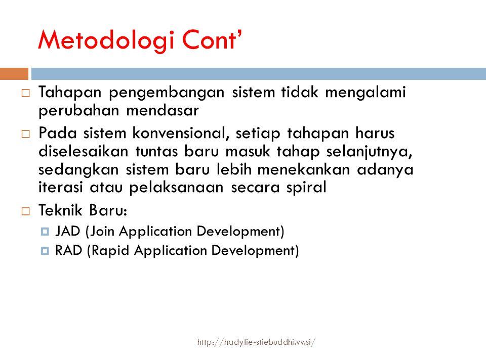 Metodologi Cont' Tahapan pengembangan sistem tidak mengalami perubahan mendasar.