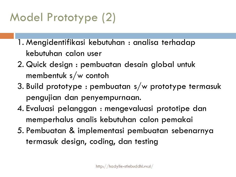 Model Prototype (2) Mengidentifikasi kebutuhan : analisa terhadap kebutuhan calon user.