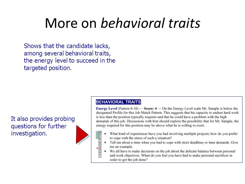More on behavioral traits