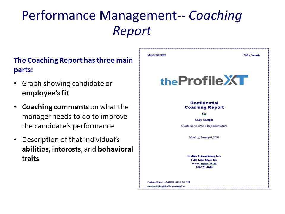 Performance Management-- Coaching Report