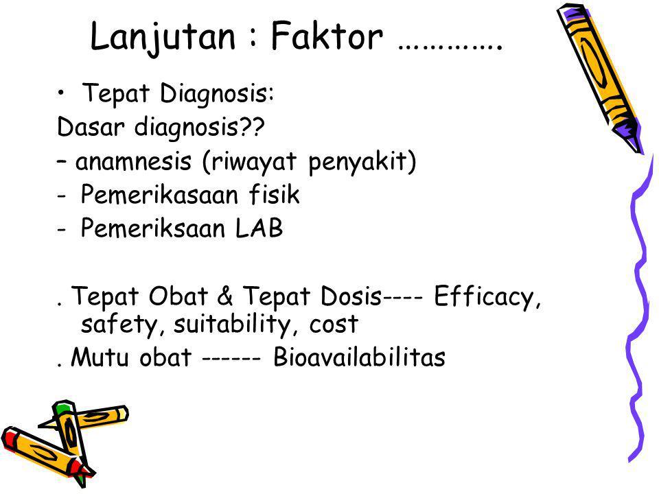 Lanjutan : Faktor …………. Tepat Diagnosis: Dasar diagnosis