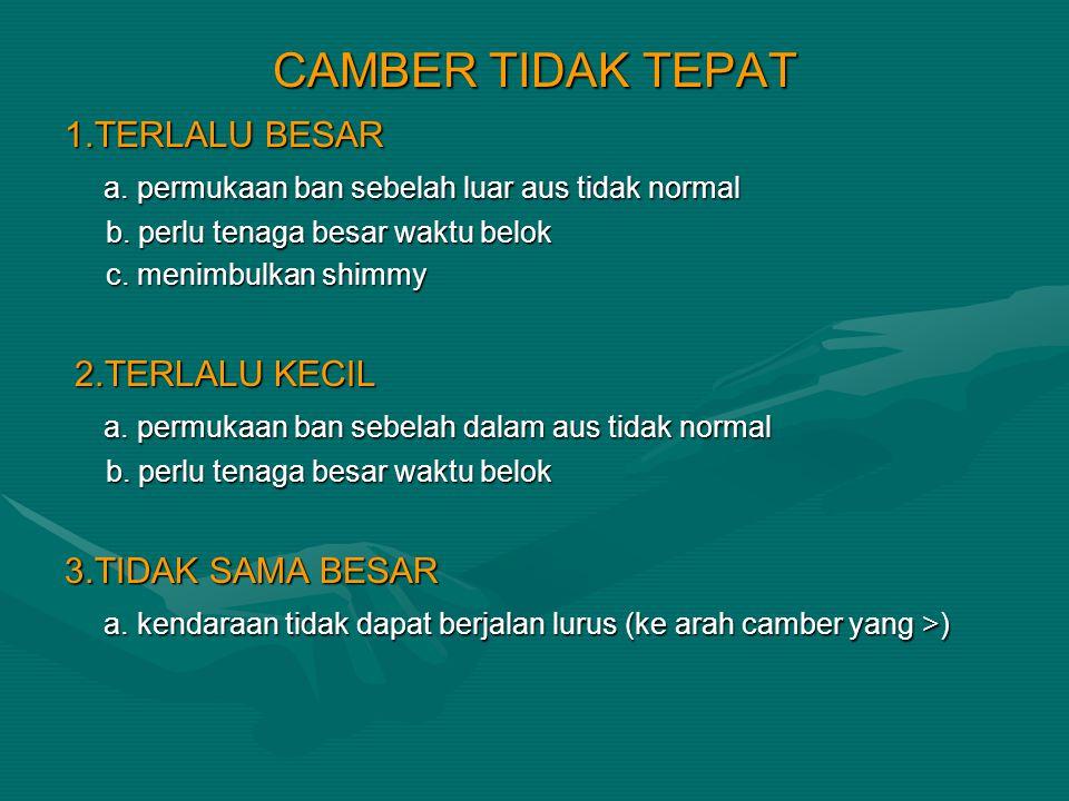 CAMBER TIDAK TEPAT 1.TERLALU BESAR