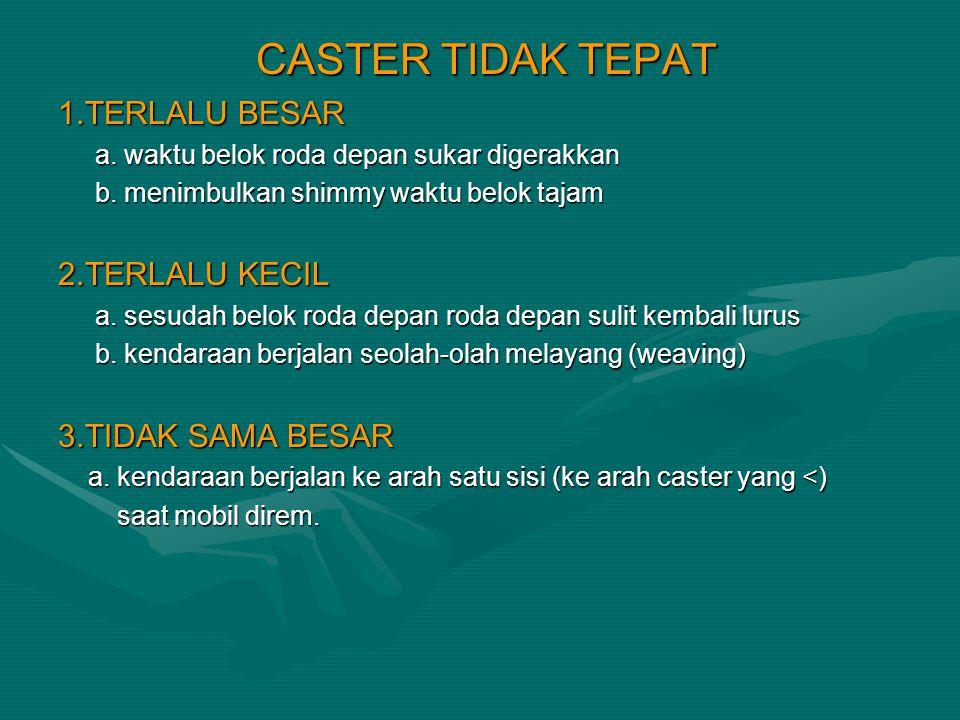 CASTER TIDAK TEPAT 1.TERLALU BESAR 2.TERLALU KECIL 3.TIDAK SAMA BESAR