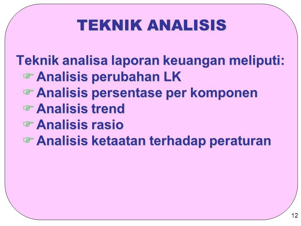 TEKNIK ANALISIS Teknik analisa laporan keuangan meliputi: