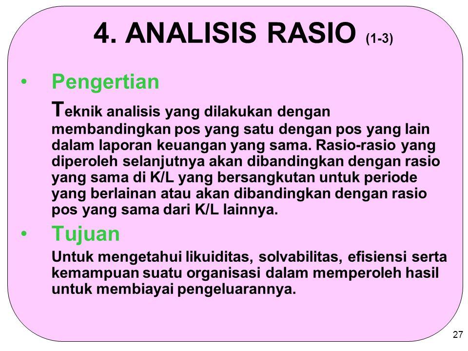 4. ANALISIS RASIO (1-3) Pengertian
