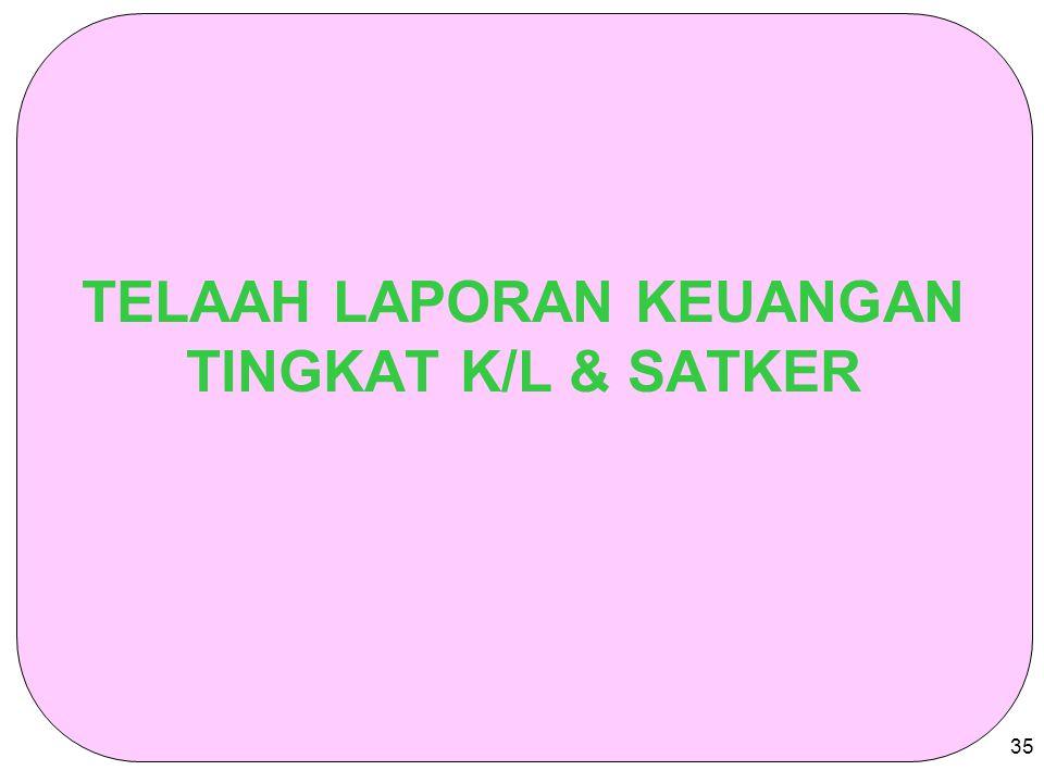 TELAAH LAPORAN KEUANGAN TINGKAT K/L & SATKER
