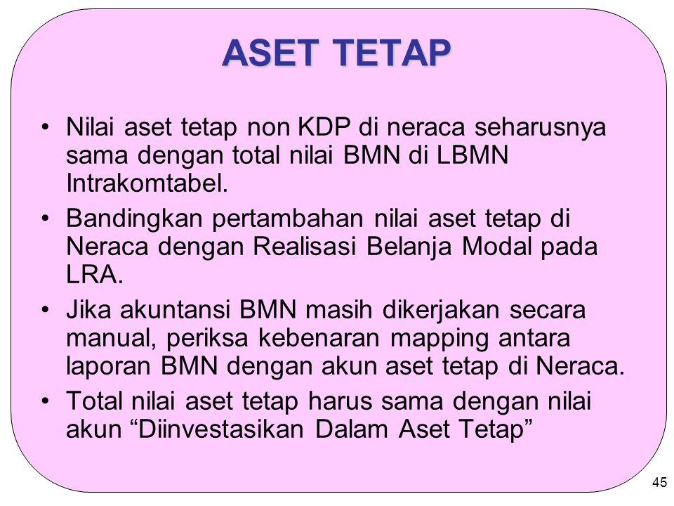 ASET TETAP Nilai aset tetap non KDP di neraca seharusnya sama dengan total nilai BMN di LBMN Intrakomtabel.