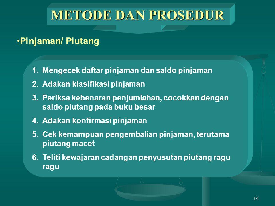 METODE DAN PROSEDUR Pinjaman/ Piutang