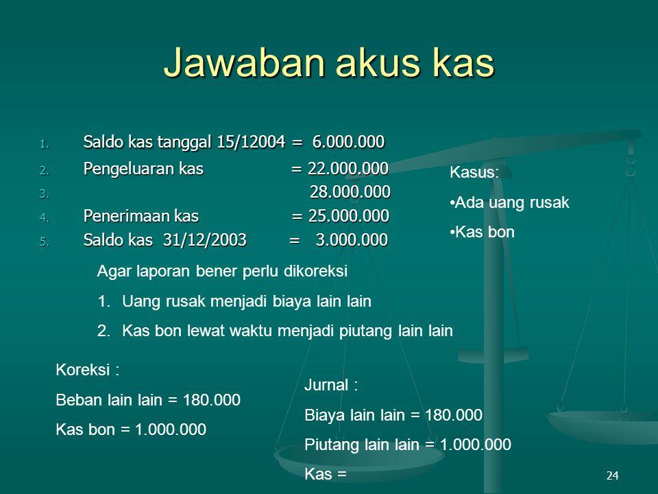 Jawaban akus kas Saldo kas tanggal 15/12004 = 6.000.000
