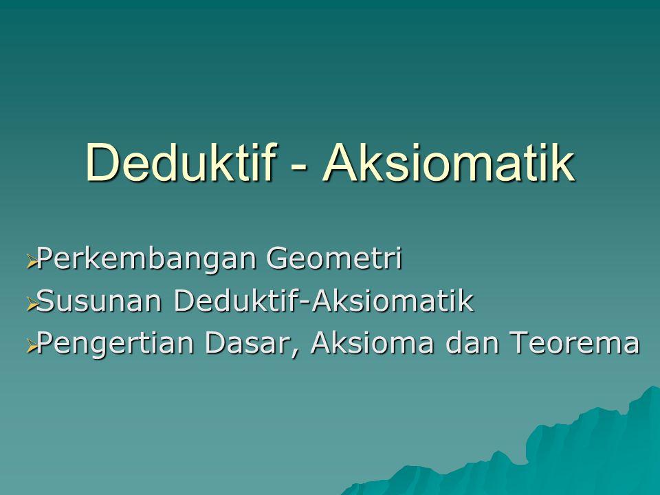 Deduktif - Aksiomatik Perkembangan Geometri