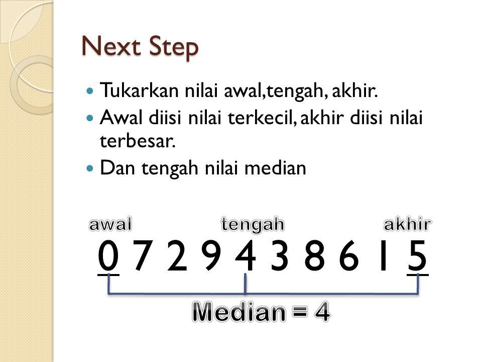 Next Step Tukarkan nilai awal,tengah, akhir. Awal diisi nilai terkecil, akhir diisi nilai terbesar.