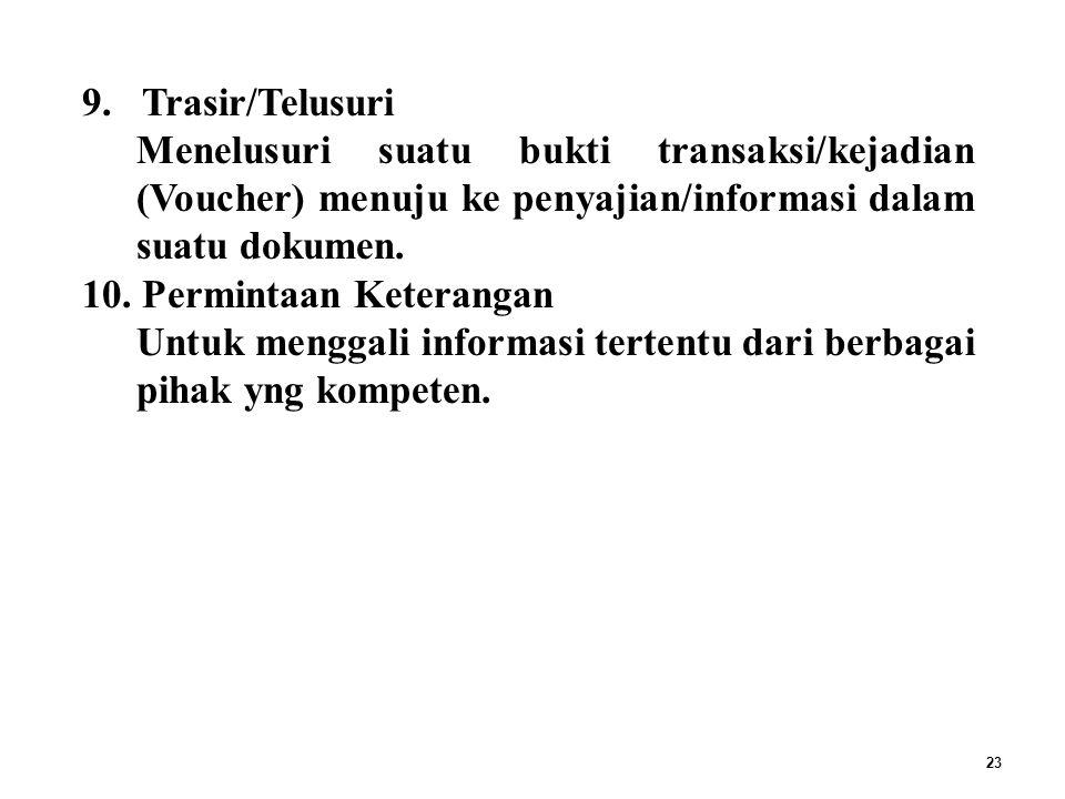 TEHNIK AUDIT : Trasir/Telusuri