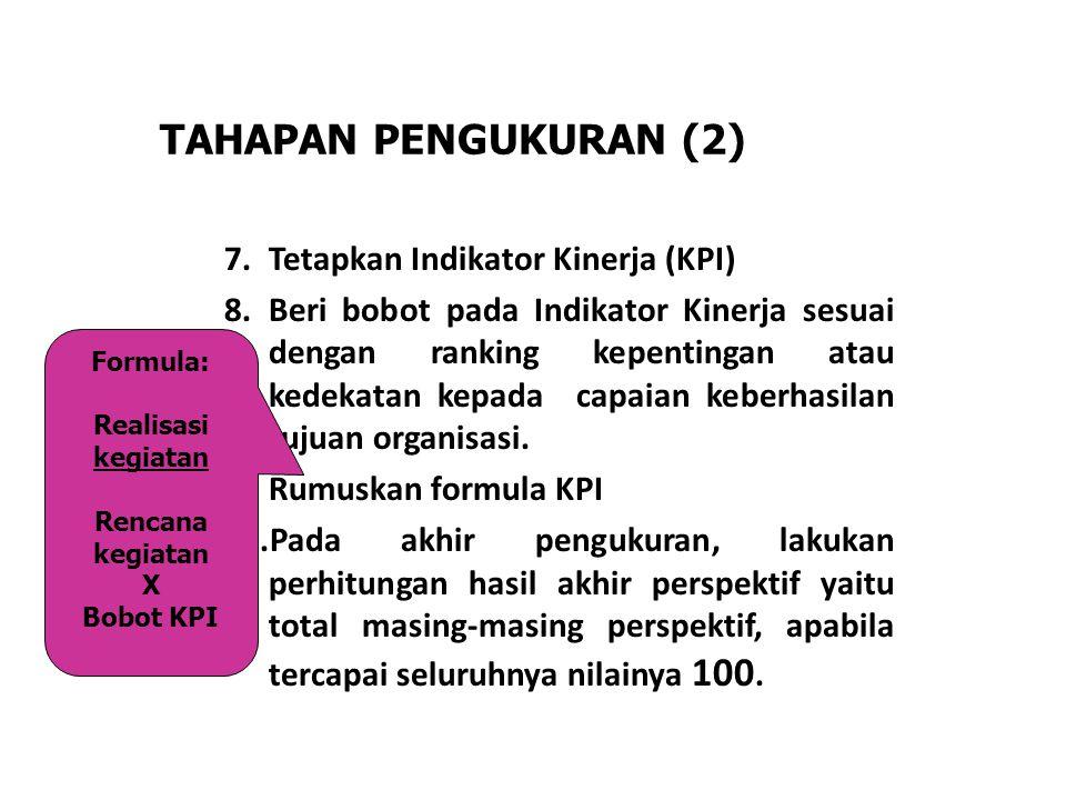 TAHAPAN PENGUKURAN (2) Tetapkan Indikator Kinerja (KPI)