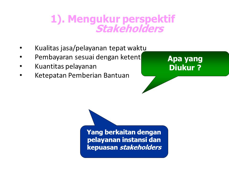 1). Mengukur perspektif Stakeholders