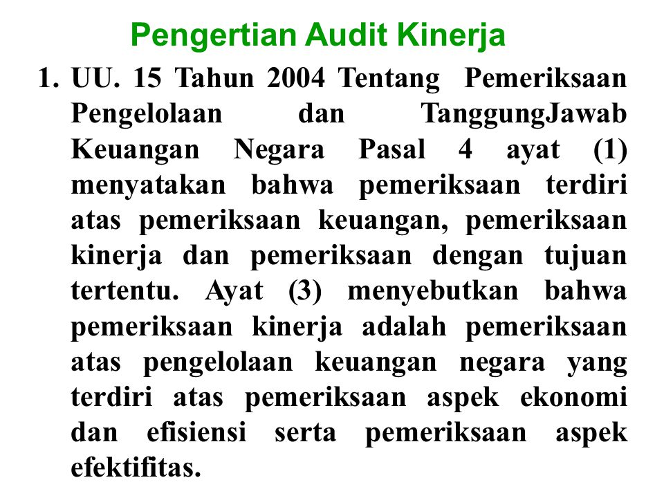 Pengertian Audit Kinerja