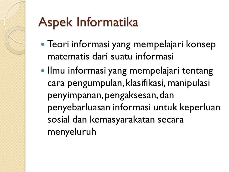 Aspek Informatika Teori informasi yang mempelajari konsep matematis dari suatu informasi.