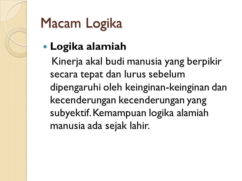 Macam Logika Logika alamiah