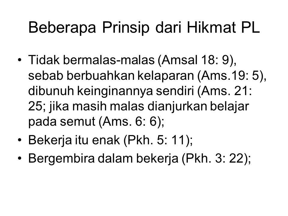 Beberapa Prinsip dari Hikmat PL